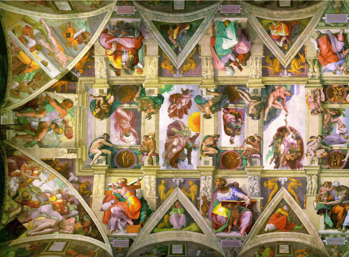 The left half of the ceiling of the Sistine Chapel, as painted by Michelangelo in 1508 and restored in 1994