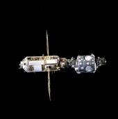2. U.S.-built Unity connecting module (bottom) and the Russian-built Zarya module