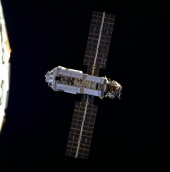 4. Russian-built FGB (Zarya) approaches Shuttle Endeavour and the U.S.-built Node 1