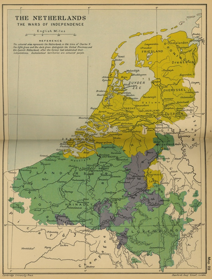 The Netherlands: Wars of Independence (1568-1648)The Protestantism brought the revolts for political liberties all over Europe. When the catholic king Philip II of Spain suppressed political liberties in the Netherlands, a Protestant revolt led by William of Orange broke out in the Netherlands in 1568. The Union of Utrecht (1579) turned the seven Northern provinces into the United Provinces of the Netherlands. The 17th century witnessed the prolongation of the war between the United Provinces and Spain, until the recognition of the Dutch independence by Spain in 1648 Spain. In 1602 was created the Dutch East India Company, to bring Holland as a major power in Europe and overseas at the end of the 17th century.Netherlands independence was completely conquered after the Thirty Years' War (1618–1648) with its grown power.Map Source: University of Texas at Austin, Perry-Castaneda Library, Map Collectionhttp://www.lib.utexas.edu/maps/From