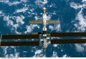 19. ISS during fly-around by the Endeavour, showing the 240-foot-long, 38-foot-wide new solar array