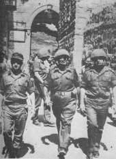 Six Day War: Left to right, Israeli generals Uzi Narkiss, Moshe Dayan and Yitzhak Rabin