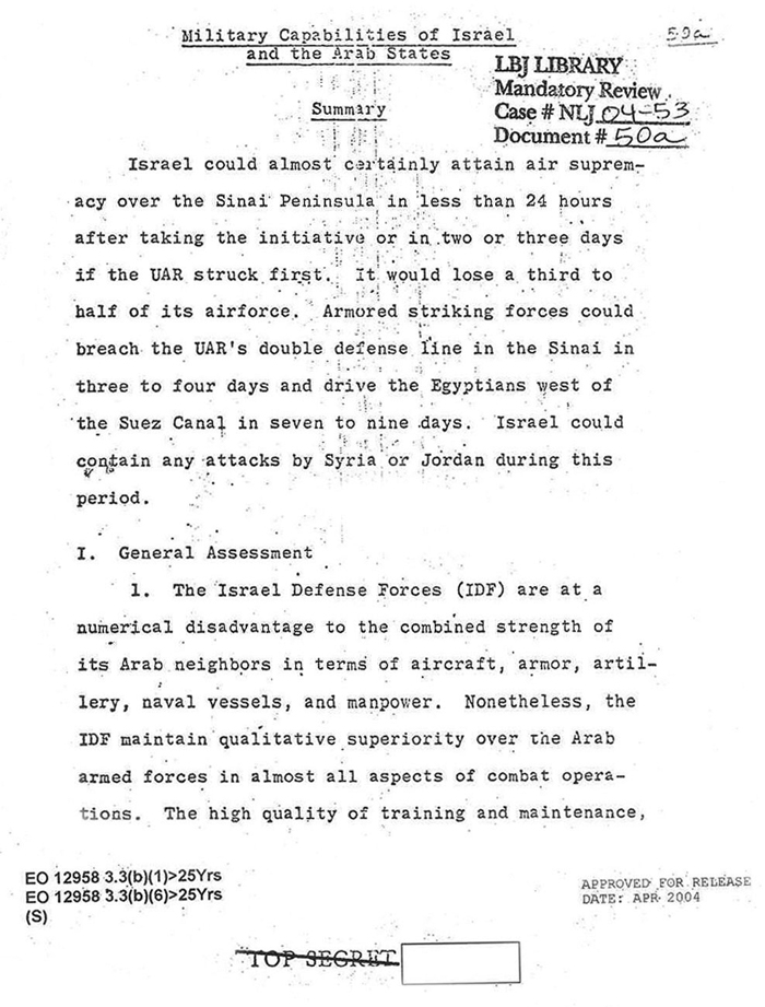 Six Day War Cia Analysis Of The 1967 Arab Israeli War