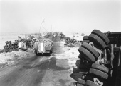 Six Day War: An IDF Halftrack passing through Egyptian wreckage