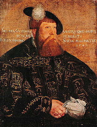 Gustav I, born Gustav Eriksson, later known as Gustav Vasa (12 May 1496 - 29 September 1560), was King of Sweden from 1523 until his death. The first monarch of the House of Vasa, his family remained the royal house of Sweden for much of the 16th and 17th centuries. Gustav I was elected regent in 1521 after leading a rebellion against Christian II of Denmark, the leader of the Kalmar Union who controlled most of Sweden at the time. The Kalmar Union was the union of the three kingdoms of Denmark, Norway (including  Iceland, Greenland, Faroe Islands, Shetland and Orkney) and Sweden (including some of Finland) under one king, nevertheless irregularly, from 1397 to 1523.Gustav I has been referred to as both a redeemer and a autocratic leader. Enthroned in 1523, he was the first truly dictatorial indigenous Swedish ruler. A skillful propagandist and bureaucrat, he set the basis for an efficient central government. Protestantism was introduced in the country during his reign. Gustav I is considered the