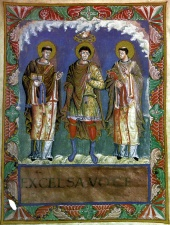 Coronation of an idealized king, depicted in the Sacramentary of Charles the Bald (about 870)