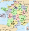 Map of France: the 22 regions, 96 departments of metropolitan France