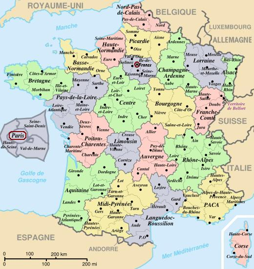 Map of France the 22 regions 96 departments of metropolitan France