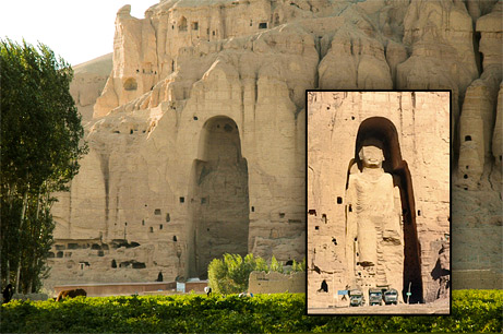 Searching for Afghanistan's Third Giant Buddha by National Geographic  An empty niche (left) remains where a 174-foot (53-meter) Buddha--carved 14 centuries ago into sandstone cliffs and pictured in inset--overlooked Afghanistan's Bamiyan Valley.  In 2001 the Taliban blew it up, along with its 125-foot (38-meter) companion statue, an act that outraged the world. Buddhist monks once lived in the caves that pock the cliff face.  Zemaryalai Tarzi is searching for a third giant Buddha, believed to be buried underground and to extend 1,000 feet (300 meters) reclining. —Contemporary photograph courtesy Zemaryalai Tarzi; historical inset photograph by Zaheeruddin Abdullah, AP