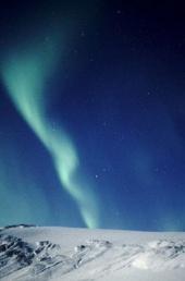 Aurora borealis over Iceland's Vatnajokull Ice Cap, the largest ice cap in Europe