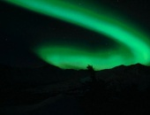 Aurora borealis over the skies of the Alaskan wilderness