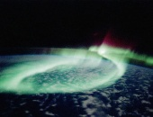 April 1991: aurora australis, or southern lights, photographed by space shuttle Discovery