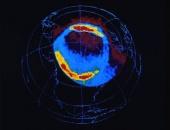 Aurora borealis distribution across the North Pole (April 6, 1996