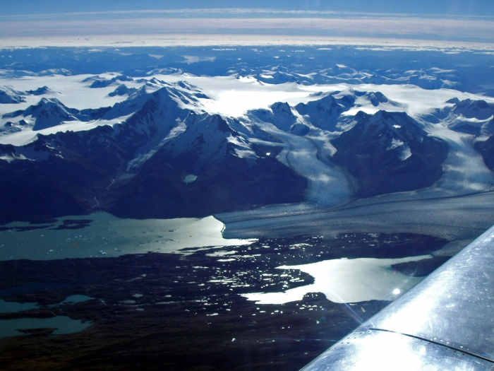 The Upsala Glacier is a large valley glacier in Argentina's Los Glaciares National Park. It flows out from the Southern Patagonian Ice Field, which also feeds the nearby Perito Moreno Glacier. The terminus of the glacier is at Lago Argentino.  Source: Wikipedia