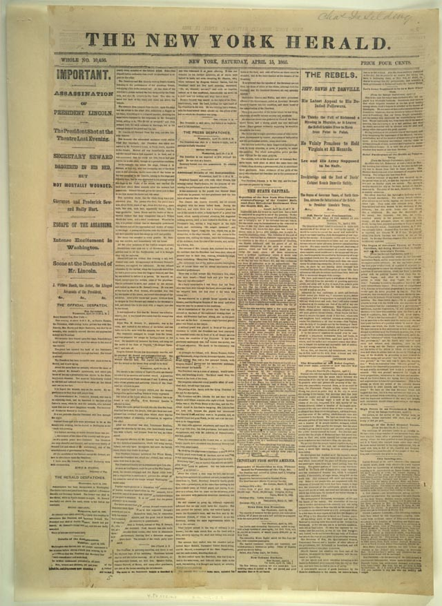 The New York Herald of Saturday, April 15, 1865, carried an account of the assassination of President Abraham Lincoln. Lincoln was shot at 9:30 p.m., Friday, April 14, 1865, while seated in a box at Ford's Theater. News of the attack reached the Herald by telegraph in time to make the first edition. Later editions issued during the day, reported on Lincoln's death and the swearing in of Vice President Andrew Johnson as president. Shown here is the 2:00 a.m. edition.