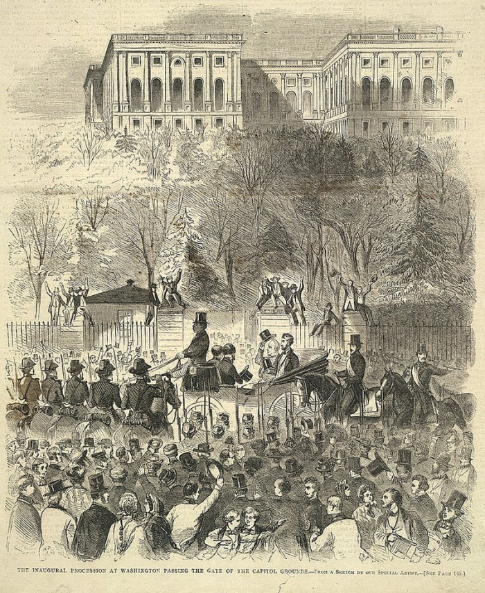 Abraham Lincoln Rides to His Inauguration Beside President James Buchanan