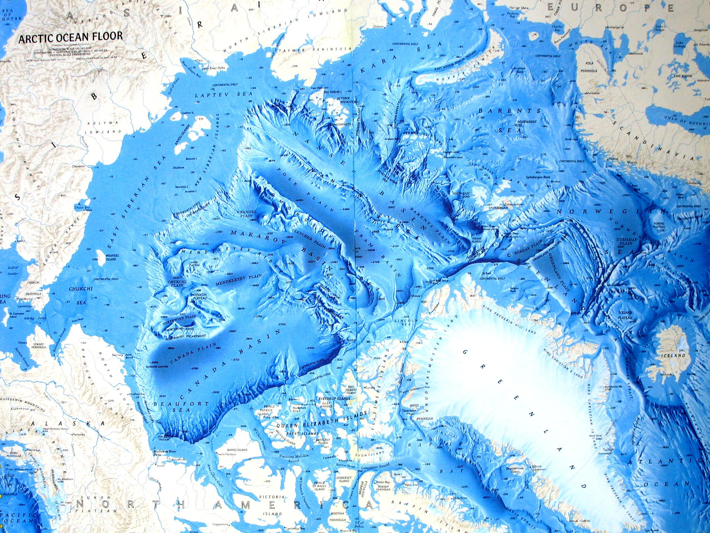 Arctic Ocean map - relief of the oceanic floor ... Pacific Ocean Underwater Map