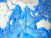 Indian Ocean map - relief of the oceanic floor