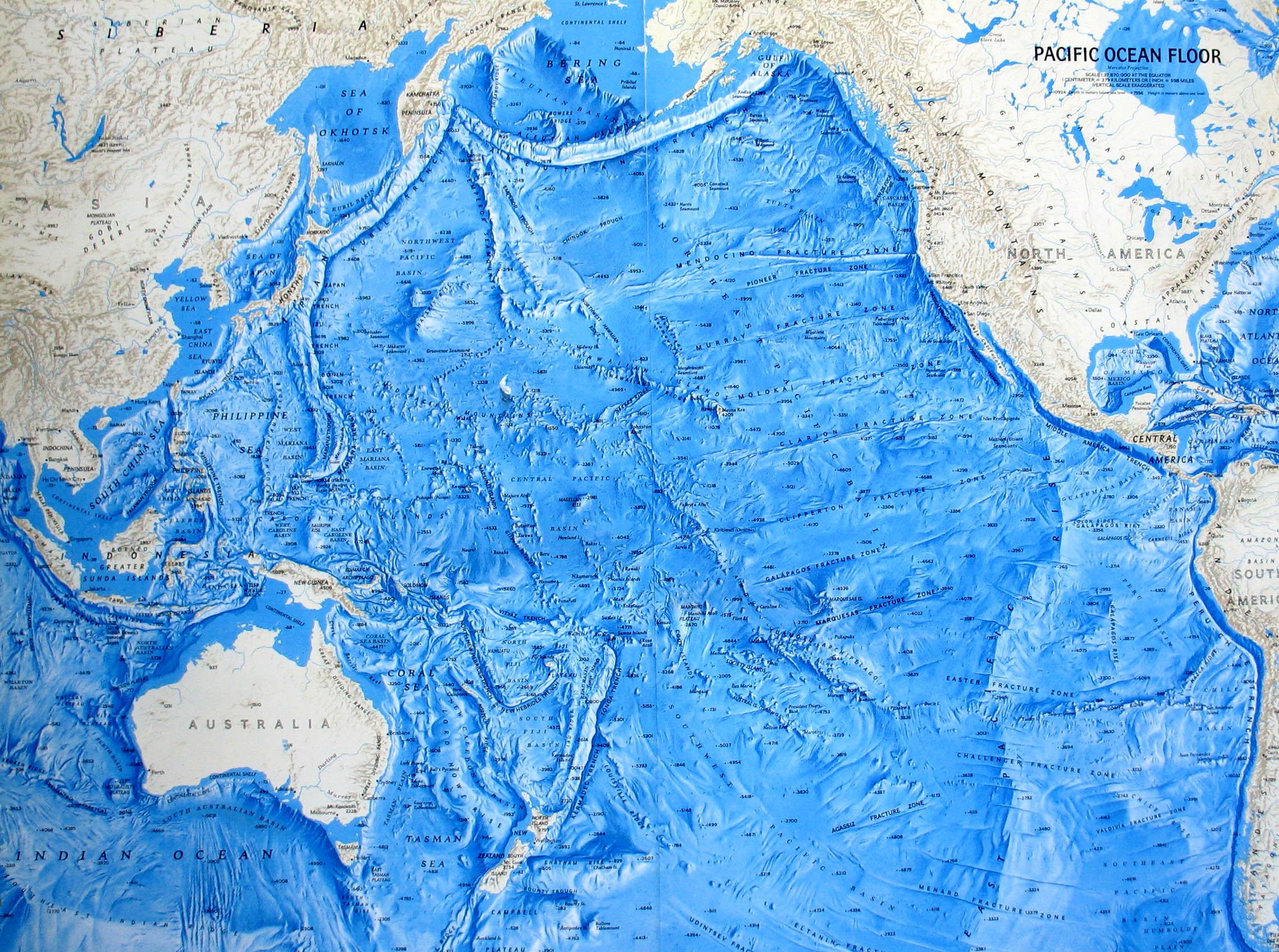 Pacific Ocean map - relief of the oceanic floor ... Pacific Ocean Underwater Map