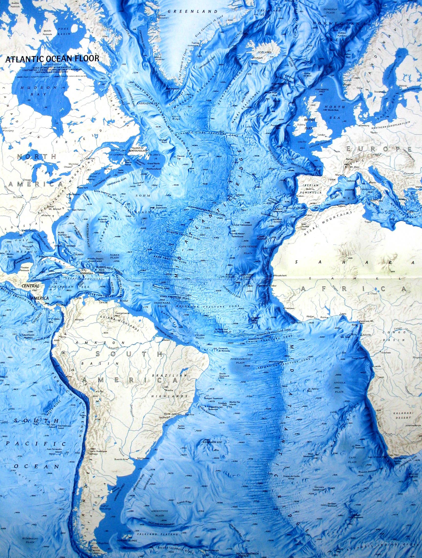 Atlantic Ocean Map Relief Of The Oceanic Floor CosmoLearning - Pacific and atlantic ocean map