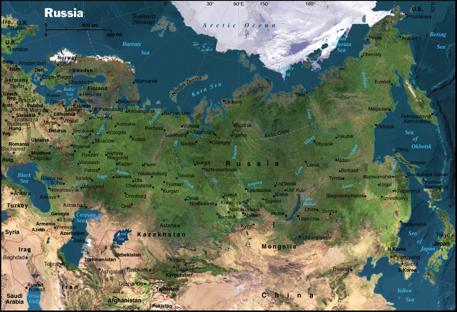 Russia satellite map CosmoLearning Geography