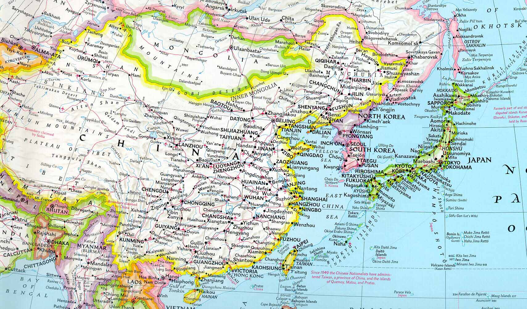 Geography Map Of Asia.Political Map Of China And Mongolia Cosmolearning Geography