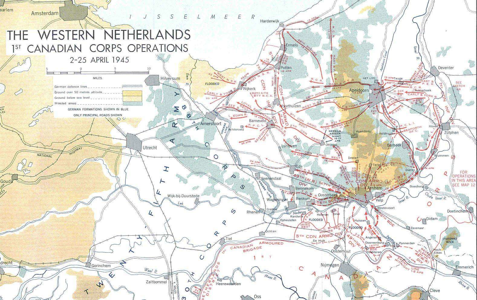 The Western Netherlands, 1st Canadian Corps Operations, 2-25 ... on map of the states and canada, map of the west coast and canada, map of the americas and canada,