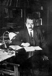 Albert Einstein in his office at the University of Berlin (1920)