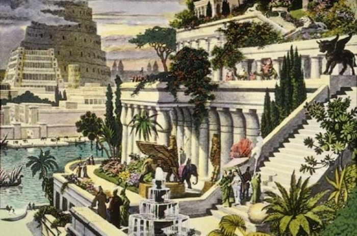Hanging Gardens of Babylon, depicts the Tower of Babel in the background. By Marten van Heemskerck, 16th century  Detailed descriptions of the Gardens come from ancient Greek sources, including the writings of Strabo and Philo of Byzantium. Here are some excerpts from their accounts: