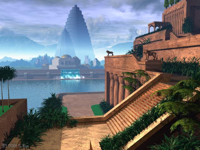 Beau Hanging Gardens Of Babylon, By Mario Larrinaga