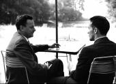 Feynman with Iwo Bialynicki-Birula, at the Relativity Conference in Warsaw (1962)