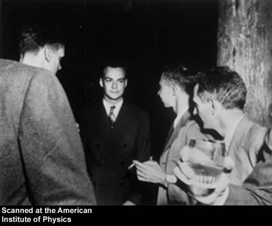 Description: L-R: Critchfield, Richard Feynman, and J. Robert Oppenheimer. Los Alamos. Date: Unknown Credit: Los Alamos National Laboratory, courtesy AIP Emilio Segre Visual Archives Names: Critchfield, Charles Louis; Feynman, Richard Phillips; Oppenheimer, J. Robert
