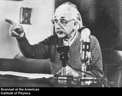 Albert Einstein giving a radio address  Source: http://photos.aip.org/images/page1/einstein_albert_b103.jpg