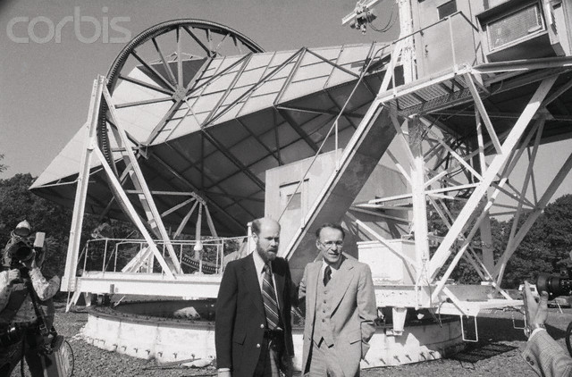 Nobel Prize Winners Wilson and Penzias   Original caption: 10/17/1978-Holmdel, NJ: Drs. Robert W. Wilson (l) and Arno A. Penzias of Bell Laboratories, who championed the