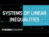 Systems of linear inequalities word problems example I