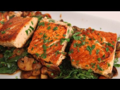 Seared Salmon with Sauteed Spinach and Mushrooms Recipe (Episode 323)